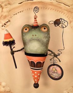 Folk Art  One of a Kind Toad Frog  Ornament  by FolkArtByPenny, $39.99