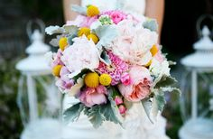 Peonies, Zinnias and Lamb's Ear make for one gorgeous #wedding bouquet! What are the yellow things called?