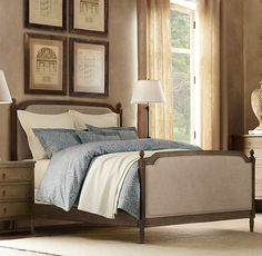 Vienne Bed from Restoration hardware - a little too elegant perhaps, but love the weathered wood and linen :)