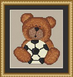 Counted Cross Stitch Pattern Soccer Bear Cross Stitch Pattern - StitchX. $2.95, via Etsy.