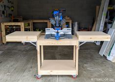 Free plans to build a DIY mobile miter saw stand for your workshop. Free up space in the shop and improve workflow with this DIY mobile miter saw stand. Miter Saw Stand Plans, Diy Miter Saw Stand, Miter Saw Table, Mitre Saw Stand, Workbench Plans Diy, Woodworking Bench Plans, Woodworking Projects Diy, Mobile Workbench, Woodworking Workshop