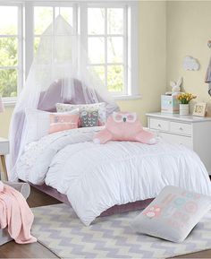Urban Dreams Verona Comforter Mini Set Full/Queen, Created for Macy's - White Bedroom Decor For Teen Girls, Teen Girl Bedrooms, Bedroom Ideas, Comfy Bedroom, Dreams Beds, Bedroom Images, Little Girl Rooms, Bed Styling, Bedding Collections
