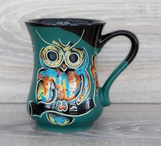 Owl mug ceramic oz Green coffee mug pottery Gift for wife birthday gift ideas Forest green mug