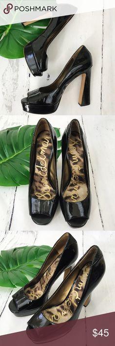 Sam Edelman Black Patent Open Toe Pumps Size 8 Sam Edelman,Size 8,black,patent pumps,Good used condition,few signs of wear,narrow fit by toes Sam Edelman Shoes Heels