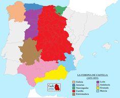 La Corona de Castilla después de 1653, año de la formación de Extremadura Map Of Spain, Modern History, Genealogy, Nerdy, Medieval, Infographic, Diagram, Culture, World