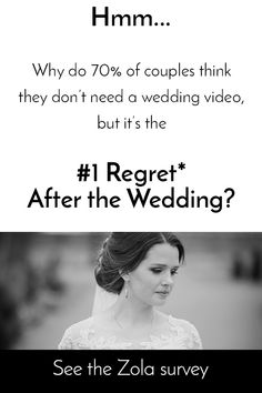 Why is it 70% of couples don't get a wedding video, but 98% recommend getting one after the wedding? See why the reasons given aren't really true! #weddingvideo #weddingregret #weddingregrets
