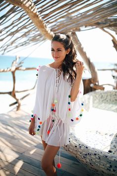 SUNDRESS pom pom coverup c/o, I also own this one // Baublebar pom braceletstassel tote (obsessed), also love this one This is my last post from Tulum, I promise! (No really, I'm out of pictures hah