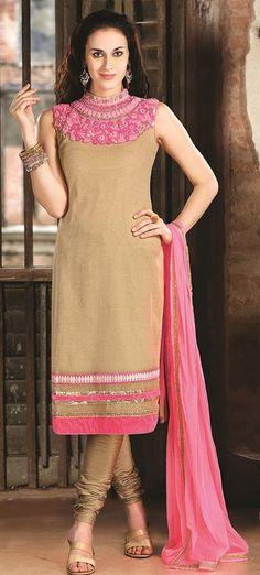 $141.06 Brown Thread Work Silk Churidar Salwar Suit 26882