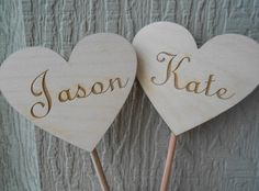 Personalized Name Wedding Cake Topper Hearts.  by TreeTownPaper