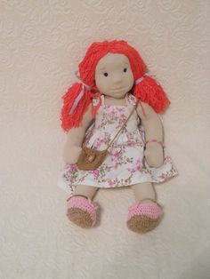 Luna is Waldorf inspired doll made from natural materials. She is about 23 tall (60cm).  She is filled with wool and her skin is made of highest