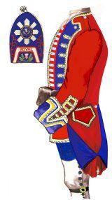 21st Foot. Uniform in 1756 - Source: Frédéric Aubert