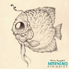 Happy Saturday!  Here's a fishy faced critter I made up.  #morningscribbles | 출처: CHRIS RYNIAK