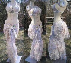Custom Handmade Burlesque Marie Antoinette inspired Tribal Fusion Bellydance Set by Synari