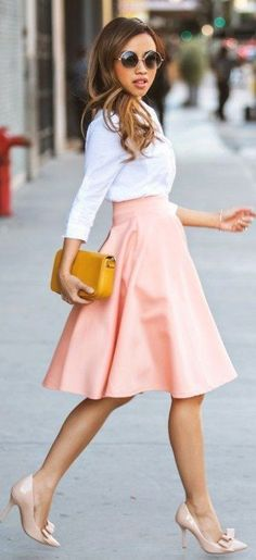 #spring #fashion | Pink Circle Skirt, Nude And White | Lace & Locks