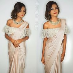 Loved doing this makeover! very quick yet glamourous Effortless side updo a classic Glam!Bridal/ Non Bridal Party makeovers Saree Jacket Designs, Saree Blouse Patterns, Blouse Neck Designs, Off Shoulder Saree Blouse, Latest Saree Blouse, Indian Blouse, Indian Sarees, Pakistani, Indian Dresses