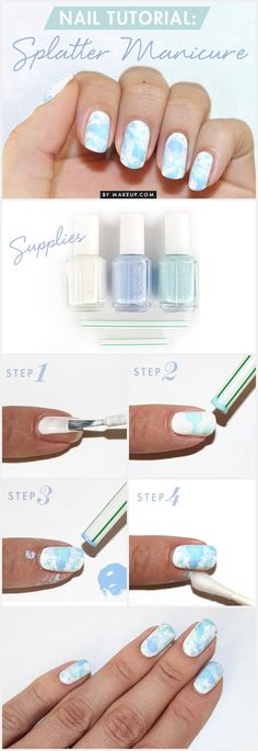 How To: splatter manicure: We've made the color the foundation for one of our easiest, but unique, nail tutorials to date. One household item, a few lacquers and Bam! you've got a knock-out splatter manicure that can be worn year round with just a change of the colors you layer on top.