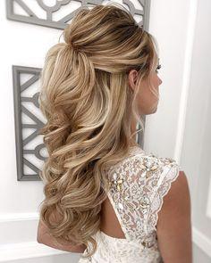 Half Up Wedding Hair, Wedding Hairstyles Half Up Half Down, Hairdo Wedding, Long Hair Wedding Styles, Wedding Hairstyles For Long Hair, Wedding Hair And Makeup, Up Hairstyles, Long Hair Styles, Half Updo