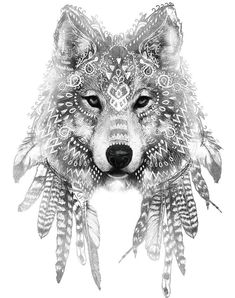 Amazing wolf head with white ritual indian signs tattoo design #WolfTattooIdeas