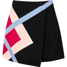 MSGM Colour-block wool blend wrap skirt (7.220 CZK) ❤ liked on Polyvore featuring skirts, wool blend skirt, wrap front skirt, msgm, block print skirts and wrap skirts