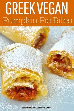 Amazing and Easy Vegan Greek Pumpkin Pie Bites! Vegan Pumpkin Pie, Pumpkin Dessert, Pumpkin Recipes, Greek Desserts, Greek Recipes, Fall Desserts, Vegan Foods, Vegan Recipes, Vegan Ideas