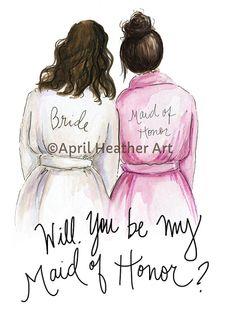 Maid of Honor PDF Download Brunette waves Bride by aprilheatherart