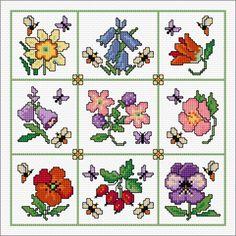 Small Flowers, My Flower, Cross Stitch Designs, Cross Stitch Patterns, Blackwork Patterns, Cross Stitch Samplers, Cross Stitching, Stitch Pictures, Stitch Book