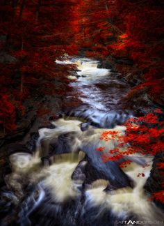 Ontonagon River flow at the pothole rapids located in the Porcupine Mountains State Park, Upper Michigan #USA