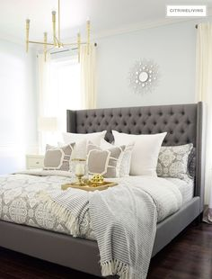 Changing out your bedding is a quick, easy and inexpensive way to update your seasonal look in the bedroom!