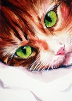 Empathy - toffee tabby cat with beautiful green eyes ACEO print