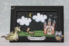 Lawn Fawn - Critters Ever After, Critters in the Forest, Critters in the 'Burbs, Bon Voyage (clouds), Bright Side Paper;  Seriously Love this Fairy Tale framed scene by Karin! (Honorable Gnome)