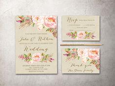Pink Wedding Invitation, Printable Wedding Stationery, Digital File - Art Deco Wedding Invitation Suite - pinned by pin4etsy.com