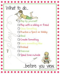 Craft, Interrupted: What To Do Before You View - a printable for regulating screen time with your kids this summer (and ever...) I LOVE this!!