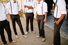 Burlap TOMS, suspenders and bow ties = hipster wedding