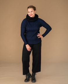 Warm and stylish Polku-culottes in black. Made from merino wool and organic cotton blend. Made in Finland, Säkylä. Shop now Finland, Merino Wool, Organic Cotton, Pants For Women, Normcore, Turtle Neck, Warm, Shorts, Stylish
