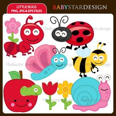 9 graphic elements of little bugs theme. Perfect for your party invitations, craft projects, paper products, stationery, scrapbooking, web designs, stickers and many more!