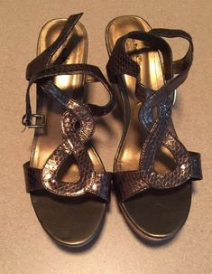 0c4557aa397c2 Womens Coach And Four Wedge Faux Snakeskin Bronze Size 10 NWOB #fashion  #clothing #shoes #accessories #womensshoes #sandals (ebay link)