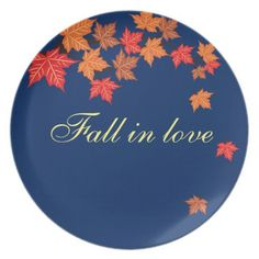 Navy Blue Maple Leaf Falling Personalized Plate