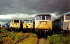 A row of Class 81 locomotives waiting to be scrapped Abandoned Train, Abandoned Cars, Abandoned Places, Abandoned Vehicles, Electric Locomotive, Diesel Locomotive, British Rail, Old Trains, Train Pictures