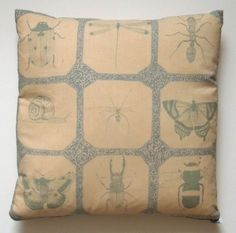 Attenborough Cushion Pillow - Life in the Undergrowth Insects. £110.00, via Etsy.