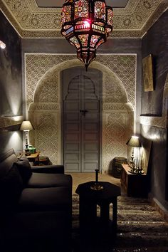 Moroccan decor in a beautiful Riad. Gebss sculpting, colored glass lighting and the famous tadelakt wall coating.Gorgeous Moroccan decor in a beautiful Riad. Gebss sculpting, colored glass lighting and the famous tadelakt wall coating.