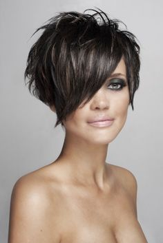 Hair: Deberadinis Creative Team Make-up: Ashley Lovsin Photo: Natasha Gerschon funky hair short choppy hair bob hair color highlights