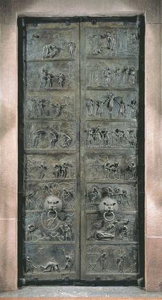 17. Alemania. Talleres de Hildesheim. Realizadas en 1015 por un maestro alemán para la Iglesia de San Miguel. Sus imágenes se caracterizan por el bizantinismo, no exagerado, sino por cierta fisonomía clásica. menor vigor expresivo.