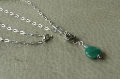 Green Agate Teardrop Necklace Lariat Chain Necklace by APerfectGem, $18.00 www.etsy.com/shop/aperfectgem