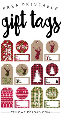 free printable gift tags in 6 rustic plaid designs and 3 different sizes