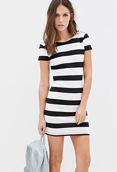 Black&White Colorblock Multicolor Stripe Mini Bodycon Dress | FOREVER21 - 2000098917 $13