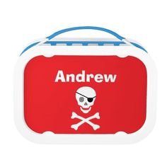 """""""Pirate"""" Lunch Box. Includes large (sandwich) container, two small containers, and ice pack. Choose from six color options."""