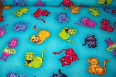 Cool Cats by Loralie Neon freche Katzen Kätzchen Cat Kitty  Patchwork Meterware