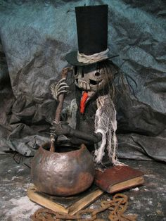 Luther Motorized  Skeleton stirring Cauldron by theshadowfarm, $300.00 - he's so cute!!!!
