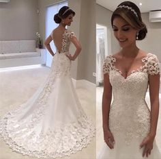 Backless Lace Wedding Dress, Wedding Gowns With Sleeves, Wedding Dresses 2018, Lace Mermaid Wedding Dress, Perfect Wedding Dress, Mermaid Dresses, Cheap Wedding Dress, Dress Lace, Tulle Wedding