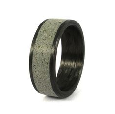 Concrete and Bentwood Ring Inlay Cedro Argentinean Wood Jewelry